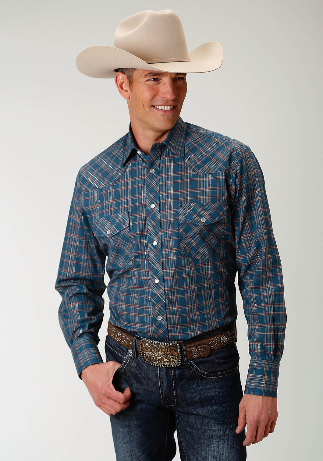 Karman Classics- 5545 Plaid Polyc Mens Long Sleeve 1939 Denim Blue Rust Plaid