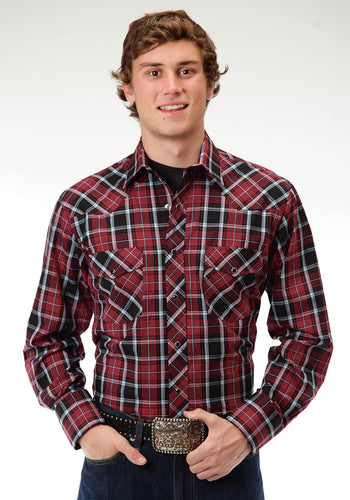 Karman Classics- 5545 Plaid Polyc Mens Long Sleeve Shirt 0647 Tartan Plaid