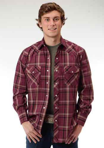 Karman Classics- 5545 Plaid Polyc Mens Long Sleeve Shirt 0648 Wine Plaid