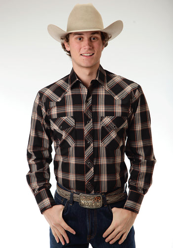 Karman Classics- 5545 Plaid Polyc Mens Long Sleeve Shirt 0652 Black Watch Plaid Wlurex