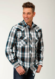 Karman Classics- 5545 Plaid Polyc Mens Long Sleeve 1945 Teal And Brown Plaid