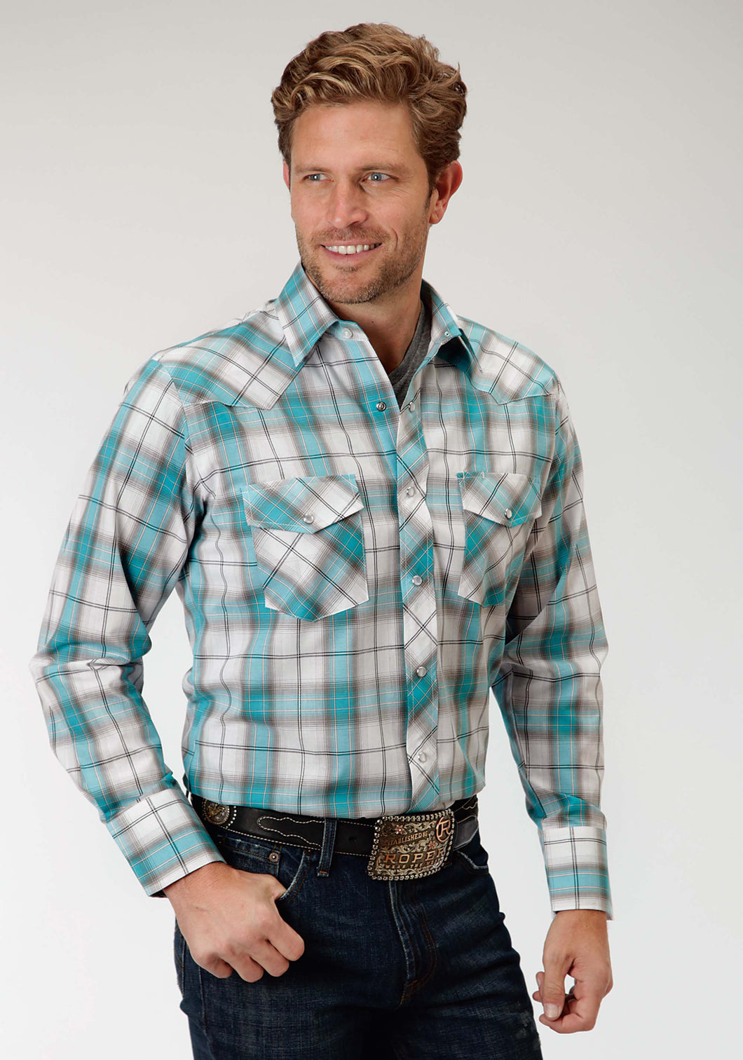 Karman Classics- 5545 Plaid Polyc Mens Long Sleeve Shirt 0918 Turquoise Grey Plaid
