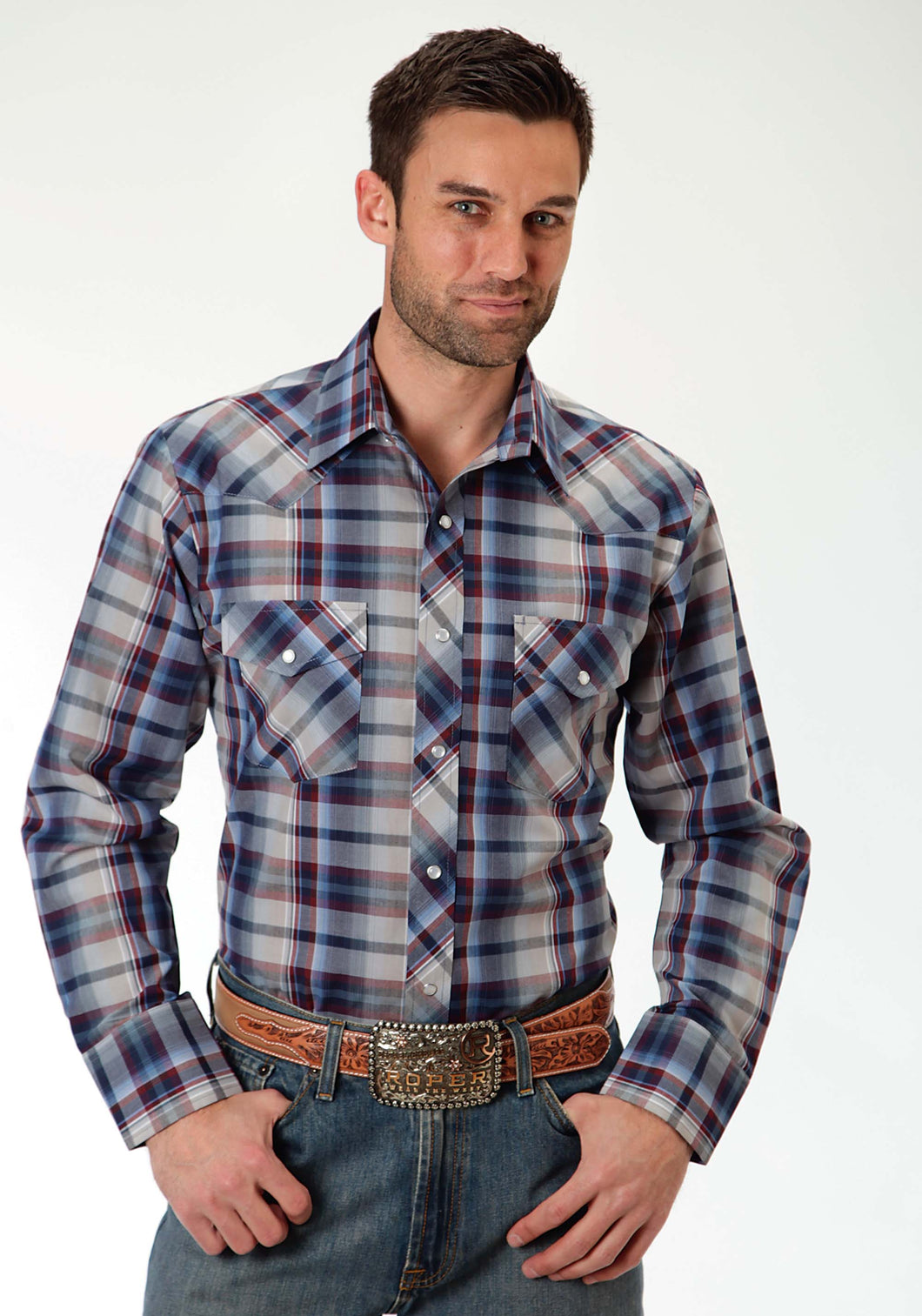 Karman Classics- 5545 Plaid Polyc Mens Long Sleeve Shirt 0922 Navy And Wine Plaid