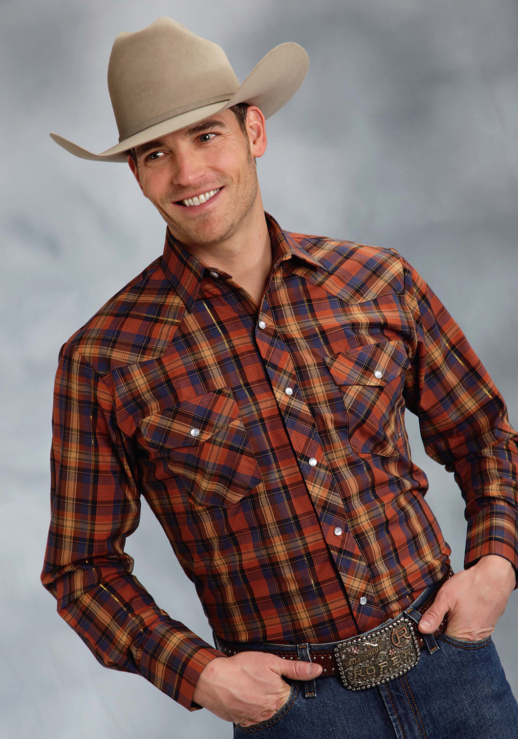 Karman Classics- 5545 Plaid Polyc Mens Long Sleeve Shirt 8864 Orange Blue Plaid