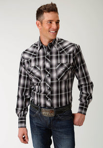 Karman Classics- 5545 Plaid Polyc Mens Long Sleeve 1926 Black Grey Sage Plaid