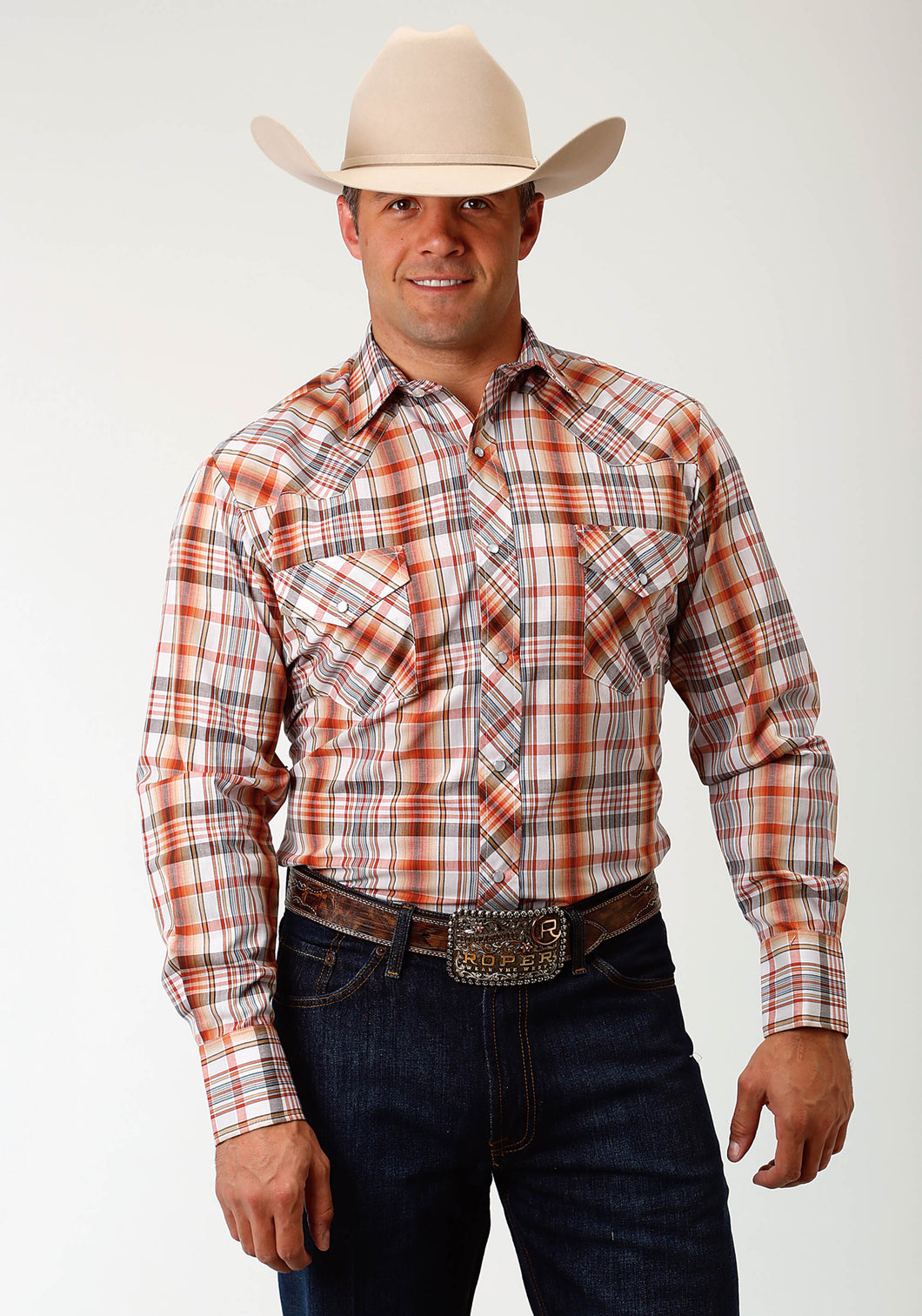 Karman Classics- 5545 Plaid Polyc Mens Long Sleeve Shirt 1713 Tan Rust Cream Plaid