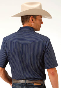 Karman Classics- 5545 Stripe Polyc Mens Short Sleeve 3596 Navy White Pinstripes
