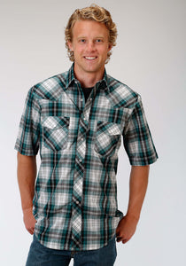 Karman Classics- 5545 Plaid Polyc Mens Short Sleeve Shirt 1017 Teal Black White Plaid