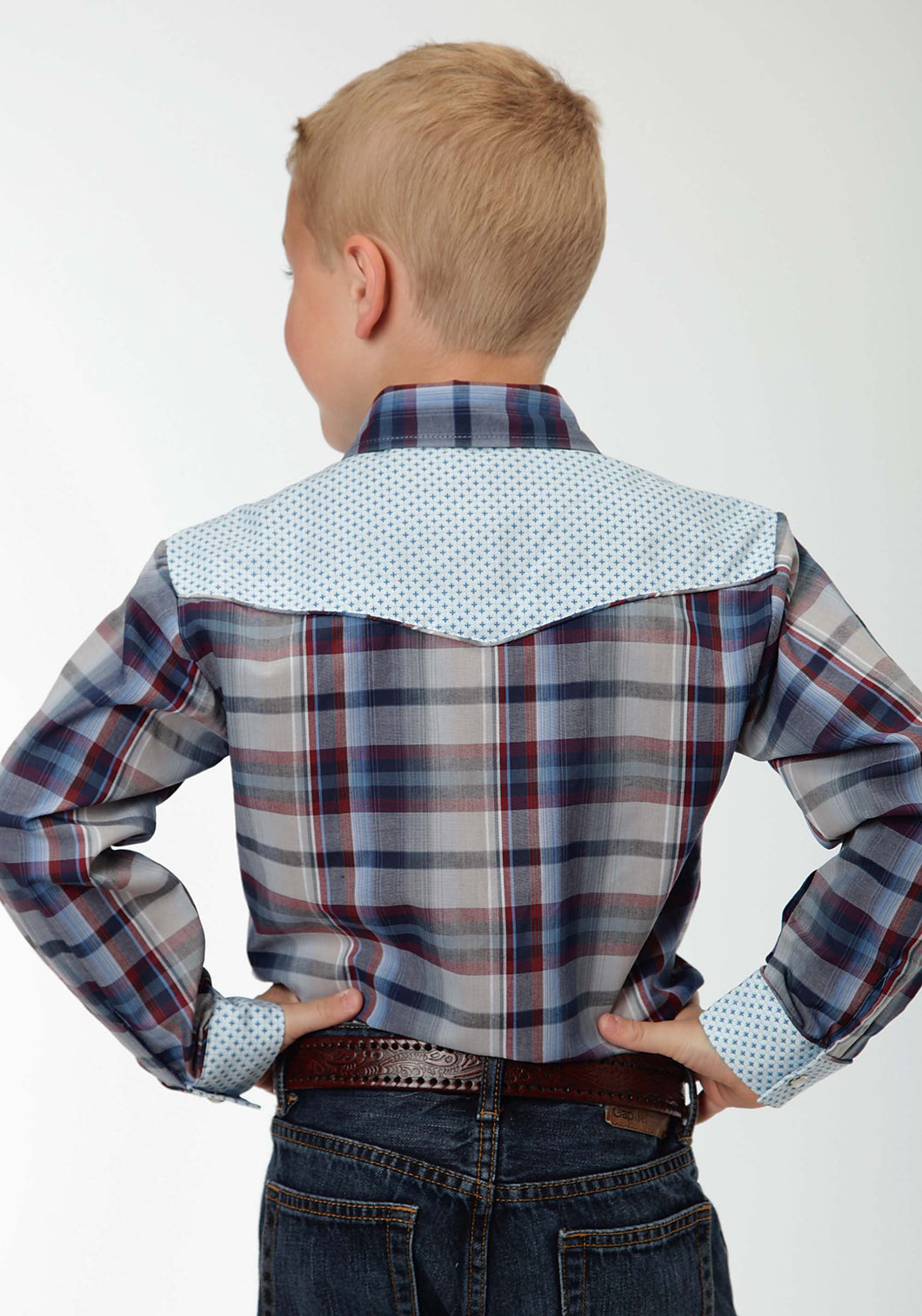 Karman Special Styles Polyc Boys Long Sleeve Shirt 0922 Navy And Wine Plaid