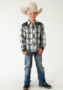 Karman Special Styles Polyc Boys Long Sleeve 2803 Navy Olive White Plaid