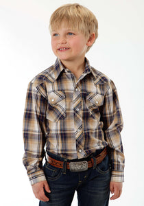 Karman Classics- 5545 Plaid Polyc Boys Long Sleeve Shirt 919 Navy Khaki Plaid