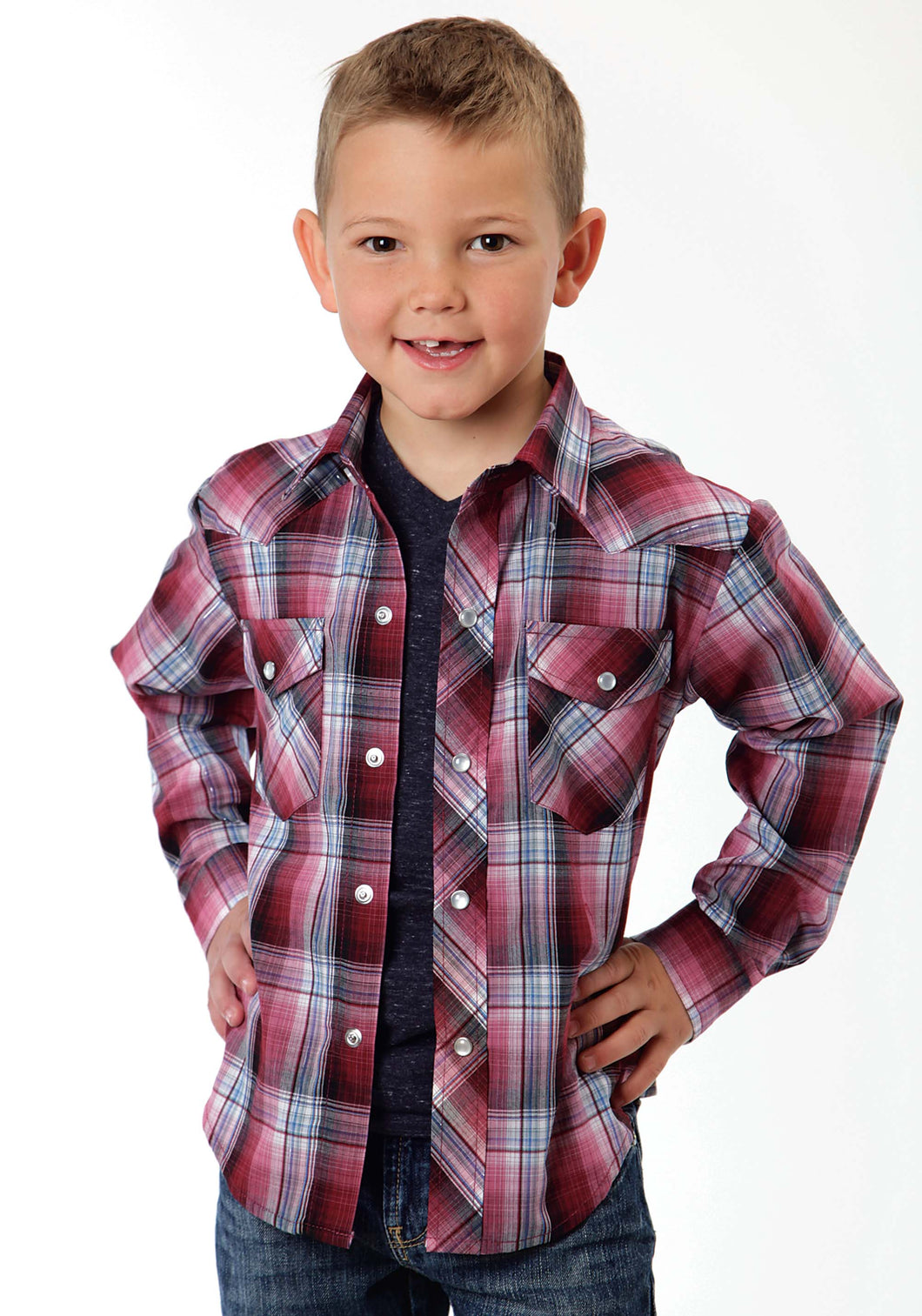 Karman Classics- 5545 Plaid Polyc Boys Long Sleeve Shirt 0926 Cranberry Plaid Wsilver Lurex