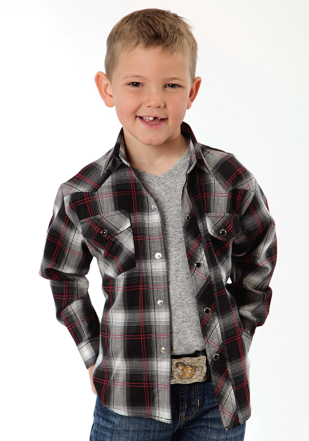 Karman Classics- 5545 Plaid Polyc Boys Long Sleeve Shirt 0927 Black Plaid