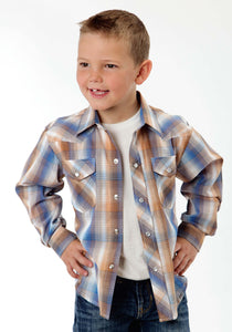 Karman Classics- 5545 Plaid Polyc Boys Long Sleeve Shirt 0930 Blue And Brown Plaid