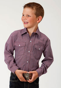 Karman Classics- 5545 Plaid Polyc Boys Long Sleeve Shirt 1642 Wine Turquoise Mini Check