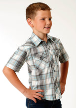 Karman Classics- 5545 Plaid Polyc Boys Short Sleeve 2794 Teal Black Cream Plaid