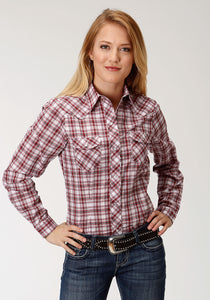 Karman Special Style Polyc Womens Long Sleeve Shirt 1231 Red White Plaid