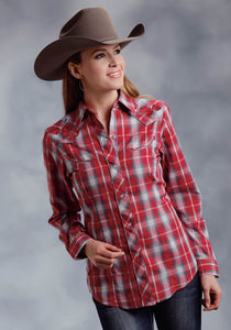 Karman Special Styles Polyc Womens Long Sleeve 0297 Red Grey Plaid