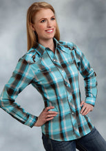 Karman Special Styles Polyc Womens Long Sleeve Shirt 0324 Turq. Brown Plaid