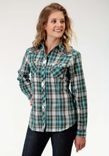 Karman Special Styles Polyc Womens Long Sleeve Shirt 0929 Turquoise And Brown Plaid