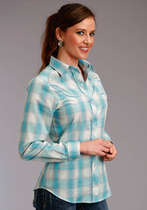 Karman Special Styles Polyc Womens Long Sleeve 2817 Turquoise Cream Plaid