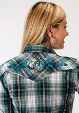 Karman Special Styles Polyc Womens Long Sleeve Shirt 1017 Teal Black White Plaid