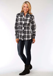 Karman Special Styles Polyc Womens Long Sleeve Shirt 1209 Black Grey White Plaid