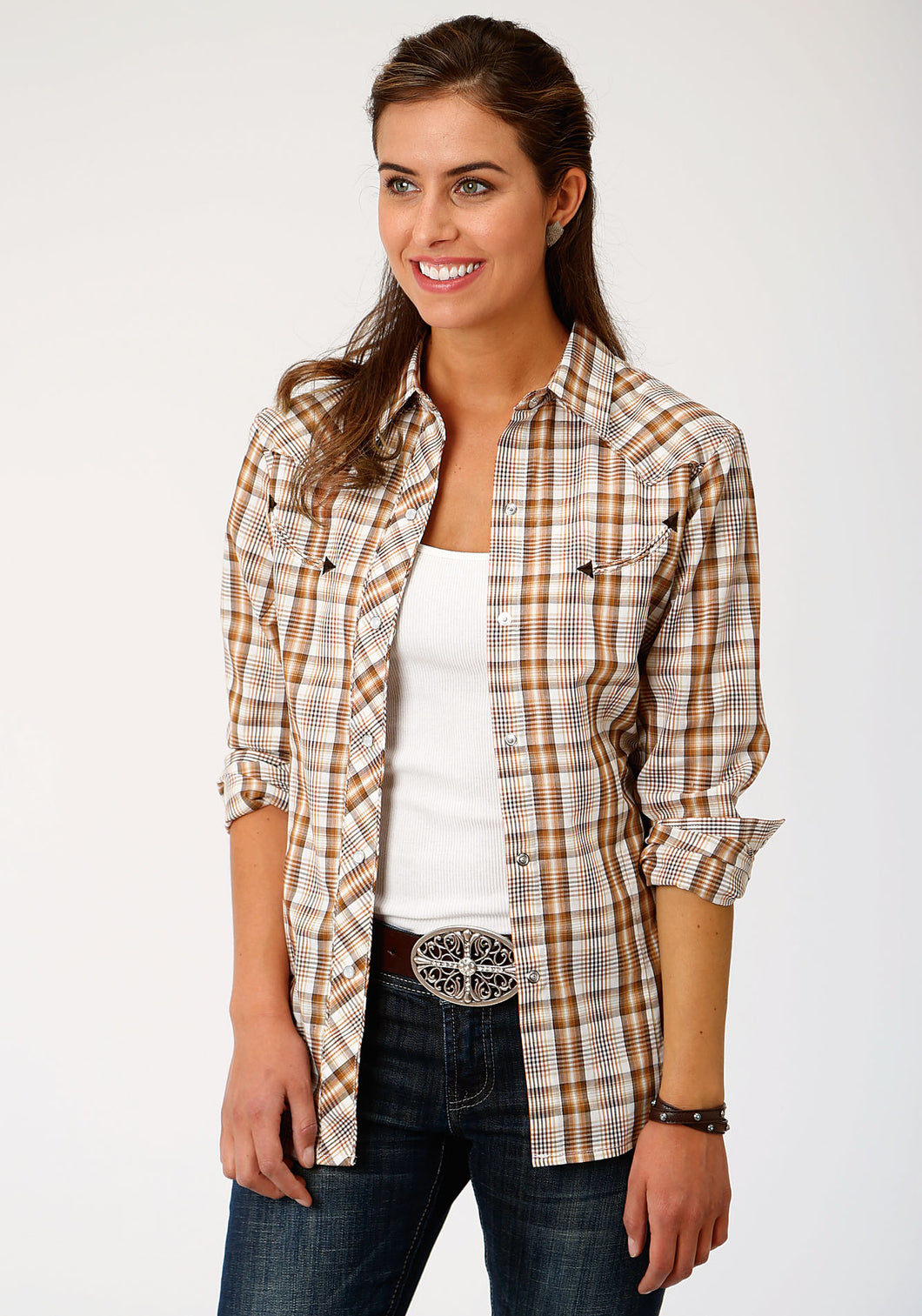 Karman Special Styles Polyc Womens Long Sleeve 00046 Brownrustcream Plaid