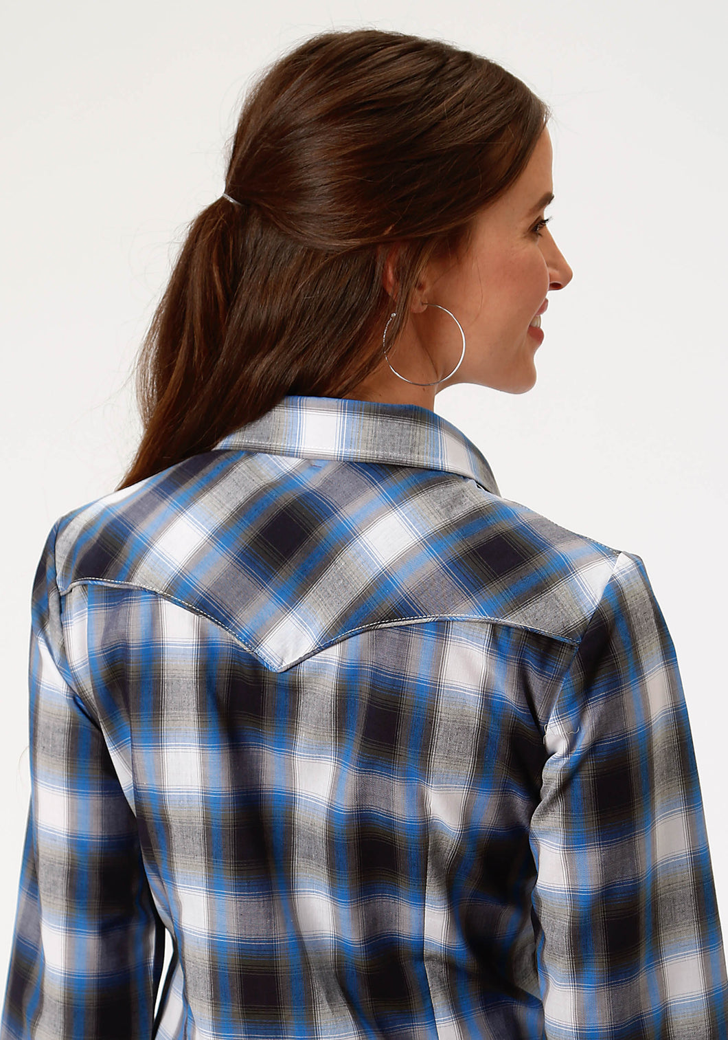 Karman Special Styles Polyc Womens Long Sleeve 0022 Sky Blue Navy Olive Plaid