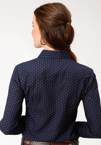 Karman Classics- 5545 Print Polyc Womens Long Sleeve 9896 Navy Light Grey Dot Print