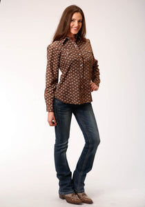 Karman Classics- 5545 Prints Polyc Womens Long Sleeve 00421 Brown Cream Leaf Print
