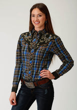 Karman Special Styles Polyc Womens Long Sleeve 1940 Royal Navy Tan Plaid