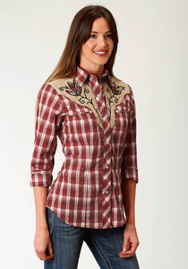 Karman Special Styles Polyc Womens Long Sleeve 1924 Warm Red Tan Plaid
