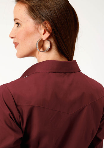 Karman Classics- 5545 Solid Polyc Womens Long Sleeve 1148 Solid Broadcloth - Wine