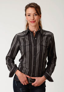 Karman Classics- 5545 Yd Stripe Polyc Womens Long Sleeve 1928 Black Navajo Stripe Wdobby