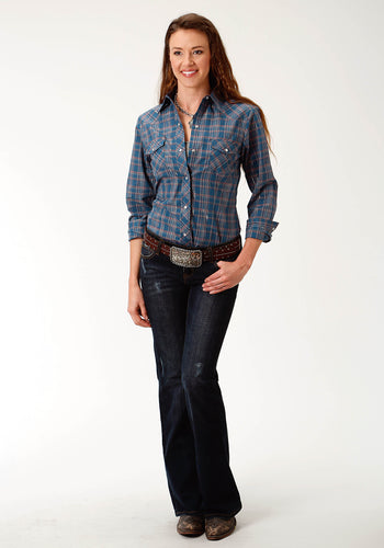Karman Classics- 5545 Plaid Polyc Womens Long Sleeve 1939 Denim Blue Rust Plaid