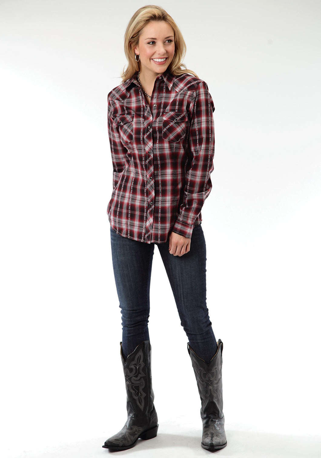 Karman Classics- 5545 Plaid Polyc Womens Long Sleeve 0649 Black Red Dobby Plaid