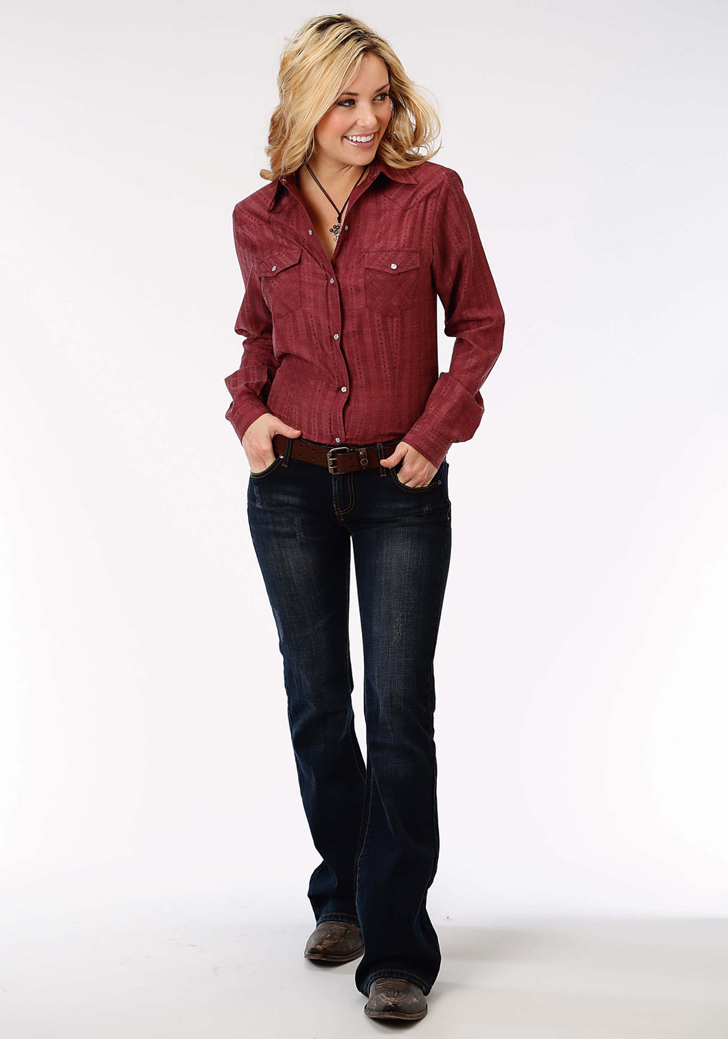 Karman Classics- 8020 Tone On Tone Solid Polyc Womens Long Sleeve Shirt 1196 Tone On Tone Dobby Wstripe