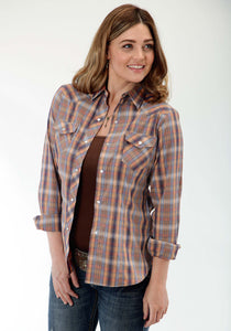 Karman Classics- 5545 Plaid Polyc Womens Long Sleeve Shirt 0924 Orange Blue Plaid