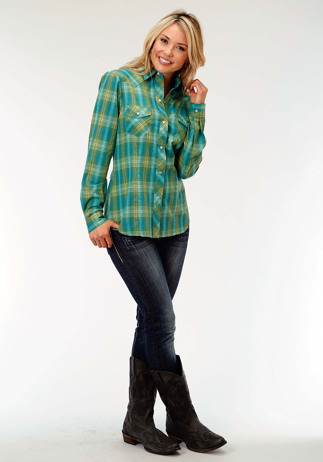 Karman Classics- 5545 Plaid Polyc Womens Long Sleeve Shirt 1200 Teal Lime Plaid