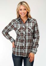 Karman Classics- 5545 Plaid Polyc Womens Long Sleeve 1204 Chocolate Turquoise Plaid