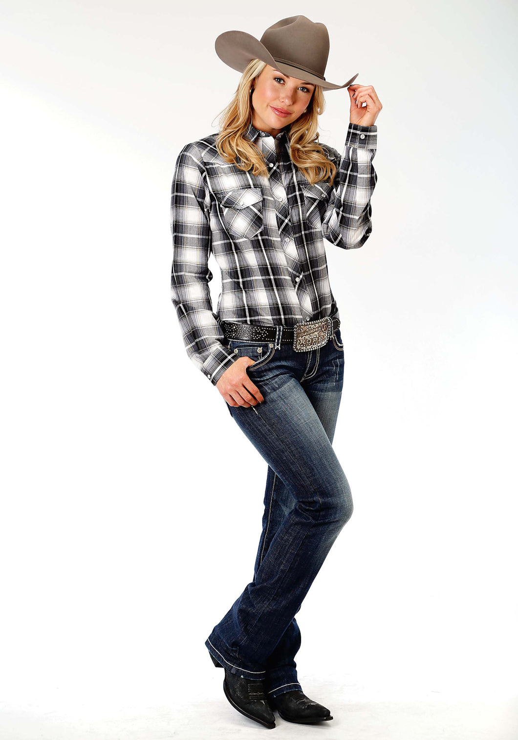 Karman Classics- 5545 Plaid Polyc Womens Long Sleeve Shirt 1209 Blackgrey White Plaid
