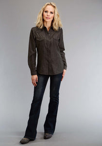 Karman Special Styles Polyc Womens Long Sleeve Shirt 1196 Tone On Tone Dobby - Charcoal