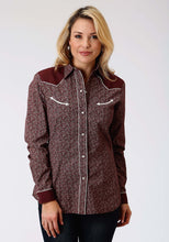 Karman Special Styles Polyc Womens Long Sleeve Shirt 1193 Wine Floral Ditzy
