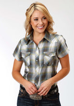 Karman Classics- 5545 Plaid Polyc Womens Short Sleeve Shirt 1027 Multi Green Plaid