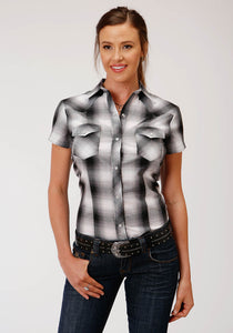 Karman Classics- 5545 Plaids Polyc Womens Short Sleeve 00211 Black Grey White Plaid