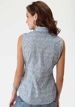 Karman Classics- 5545 Print Polyc Womens Sleeveless Shirt 0419 Tiny Blue Print