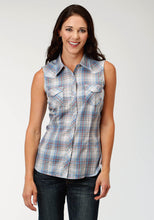 Karman Classics- 5545 Plaid Polyc Womens Sleeveless Shirt 1640 Multi Colored Small Plaid