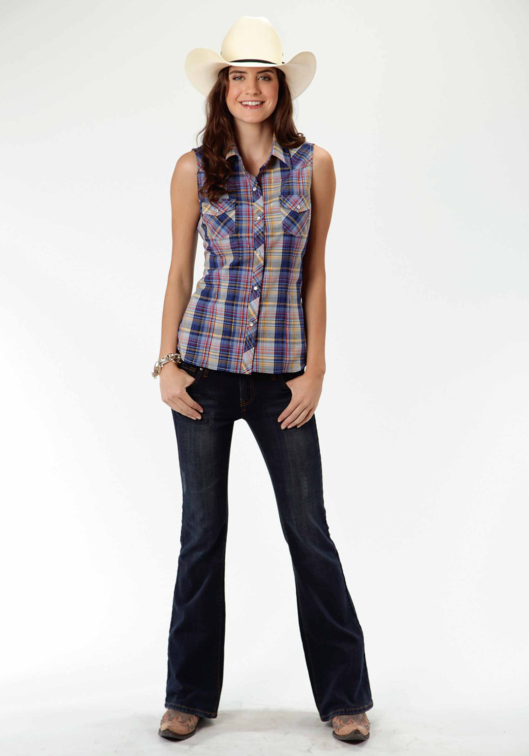 Karman Classics- 5545 Plaid Polyc Womens Sleeveless Shirt 0381 Multi Plaid