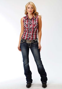 Karman Classics- 5545 Plaid Polyc Womens Sleeveless Shirt 1038 Black Red Whote Plaid